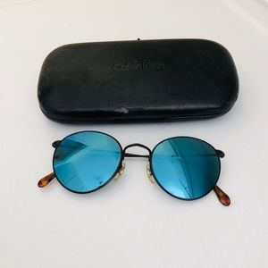 CALVIN KLEIN ROUND BLUE MIRRORED SUNGLASSES